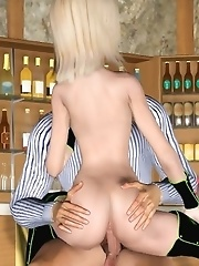 Wild 3D sex with a waiter
