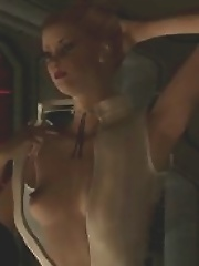 Nasty chick fucked by Robot in space ship
