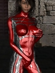 Toon babe in skin tight shiny red latex